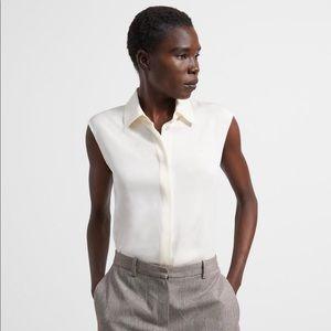 NWOT Ivory Sleeveless Fitted Shirt Size Medium